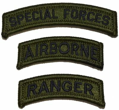 US Army Special Forces Airborne Ranger Patch Hook Backing Olive Drab (3 patches)