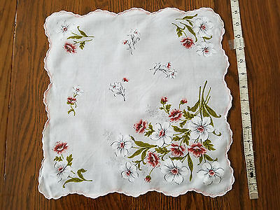 Vintage Lovely White Pink Floral Flowers Scalloped Handkerchief Hankie Hanky