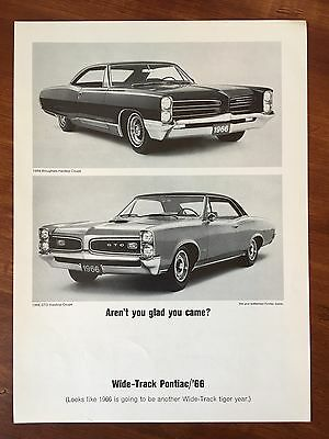 Vintage 1966 Original Print Ad PONTIAC GTO & BROUGHAM Coupe ~Glad You Came~
