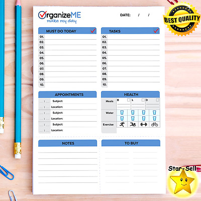 Daily Planner Day Organizer Personal Planning Sheets Papers Size A5 Note Pad