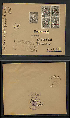 Romania overprinted stamps on censor cover  nice item         BW0525