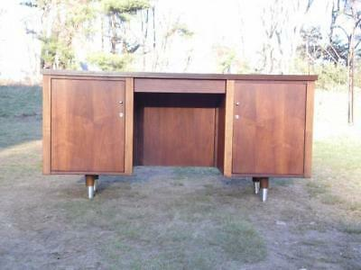 Vintage Mid Century Modern Alma Walnut Administrator Executive Office Desk