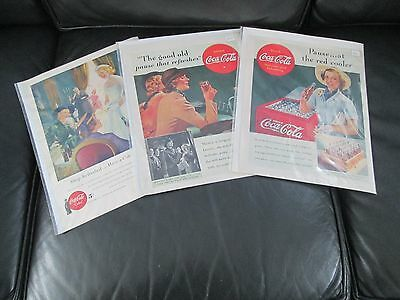 3 Vintage Coca Cola (Coke) Ads -  2 @ 1938 And  1 @ 1949