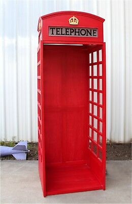 Red British Wooden Phone London Telephone Booth Open Front Replica English