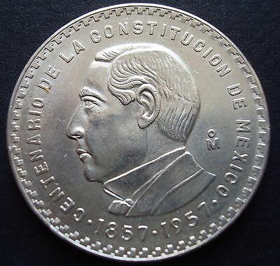 Mexico $5 Pesos Silver  Beautiful Coin Contitution Juarez  UNCIRCULATED 1957