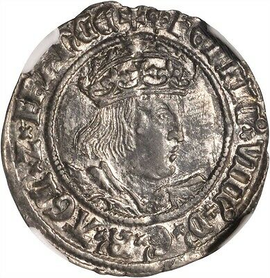 """England Henry Viii 1526-1544  """"groat"""" / 4 Pence Silver Coin Ngc Certified Au55"""