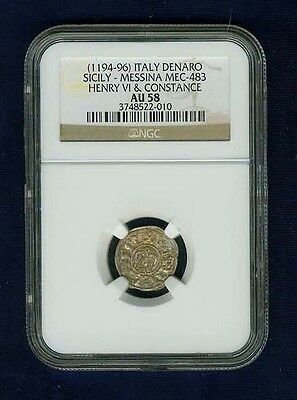 Italy Sicily Messina 1194-96 Denaro Coin, Almost Uncirculated Certified Ngc Au58