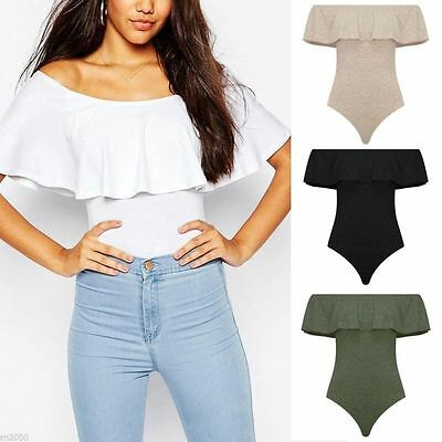 Fashion Women Ladies Off Shoulder Sleeveless Frill Bodysuit Leotard Tops Blouse