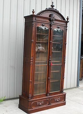 1868 Lg Renaissance Revival Victorian Type Rosewood Bookcase China Gun Cabinet