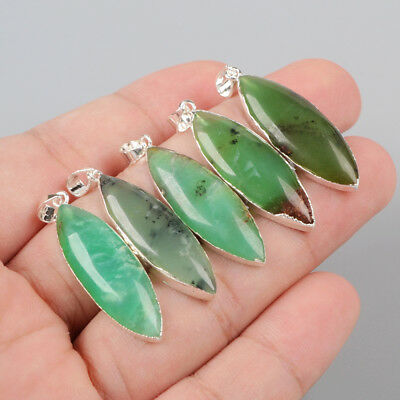 3Pcs 925 Sterling Silver Cambered Marquise Pendant, Natural Chrysoprase BSS104