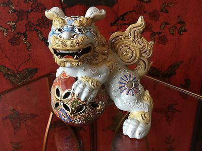 Temple Guardian Foo Dog Hand Painted Ceramic Statues old Asian MARK On Bottom