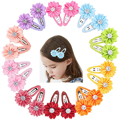 Prohouse 40 Pcs(20 Pairs) Boutique Baby Girl Hair Clips Flower Grosgrain Ribbon