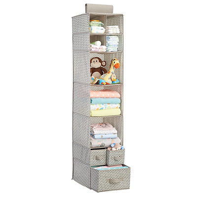 mDesign Chevron Fabric Baby Nursery Closet Organizer for Clothing, Diapers, Blan