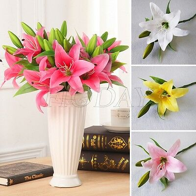 Artificial Latex Real Touch Lily Fake Flower Wedding Home Decor Bridal Bouquet