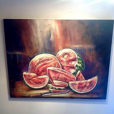 """""""Watermelons"""" Masterpiece On Wood Knife Fruit Kitchen Table Museum Quality Piece"""