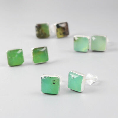 5Pair 925 Sterling Silver Cambered Square Studs, 8mm Natural Chrysoprase BSS051