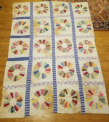 Antique vintage Feed Sack Cotton DRESDEN PLATE APPLIQUE Quilt TOP; 60 x 82""