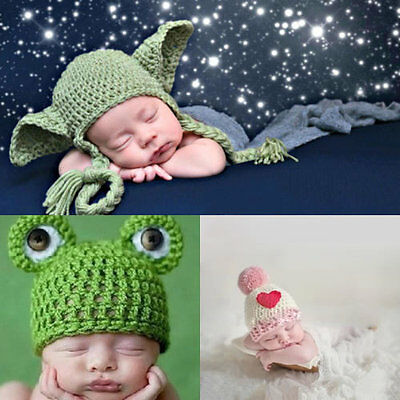 Girls Boys Newborn Baby Yoda Outfits Crochet Hat Baby Frog Costume Photo Props