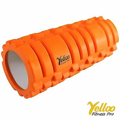 Yelloo FOAM ROLLER Rullo Massaggi PILATES Yoga Sport Fitness ER2001 ARANCIONE