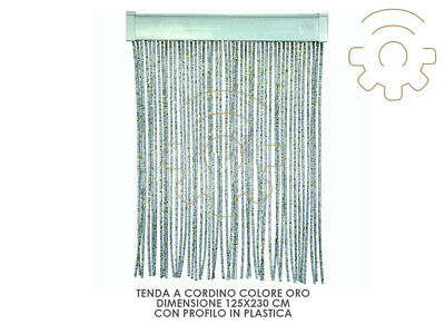 Curtain a cord gold color with profile plastic cm 125 x 230