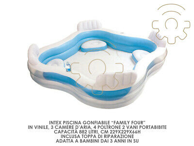 Intex inflatable pool family four 4 seats 229 x 229 x h 66 cm outer gard