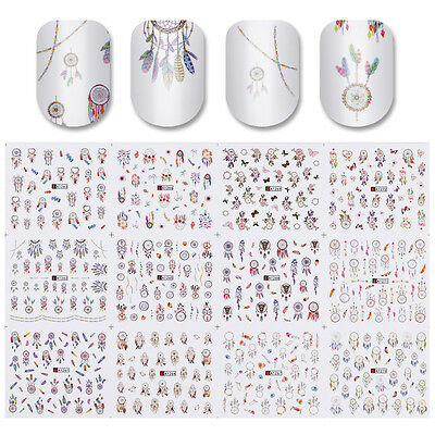 Water Decals 12 Patterns Big Sheet Dreamcatcher Nail Transfer Stickers Manicure