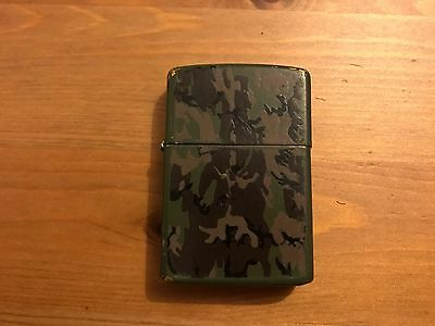 Vintage Working Zippo Camouflage Black and Green Cigarette Lighter 1992  RARE!!!