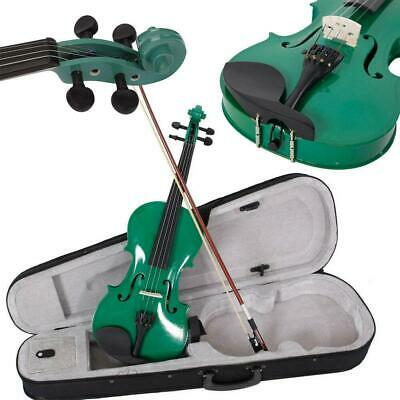 New Green Color 4/4 Full Size School Acoustic Violin with Case Bow Rosin