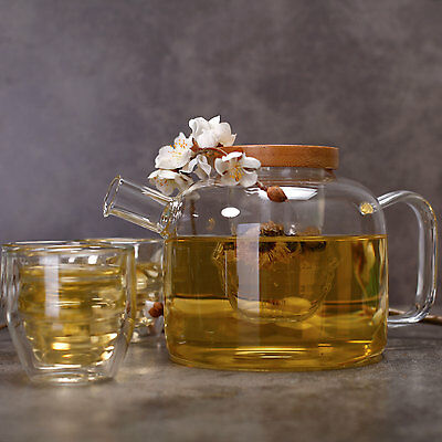 Heat Resistant Glass Teapot with Infuser Tea Pot Set Clear Kettle
