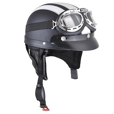 Retro Motorcycle Half Helmet Open Face Scooter Harley Goggles Visor Scarf White