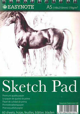 Artist Sketch Pad 170Gsm A4 40 Sheet A5 60 Sheet Charcoal And Graded Pencils