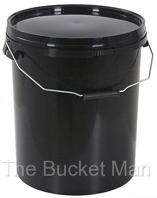 2 x 25 Ltr Litre Black Plastic Bucket with Lid and Metal Handle