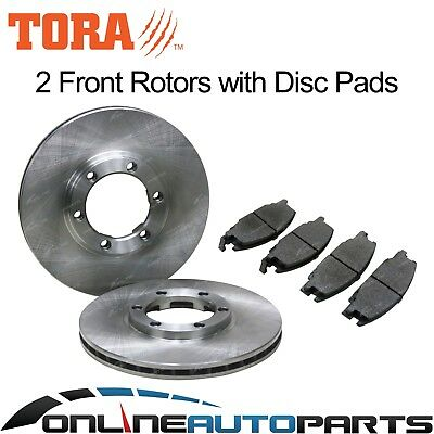 2 Front Disc Rotors + Brake Pad Set Holden Rodeo TFR TF TFS 1988~1998 RWD + 4X4