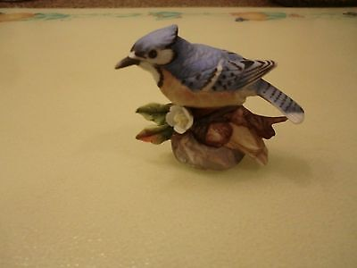 Vintage Lefton '84 Nest Egg Collection 04023 Signed Blue Jay Porcelain Figurine