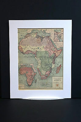 Antique Map of AFRICA SOUDAN EGYPT SOMALI GUINEA SARAHA DESERT ZULU 1883 Matted
