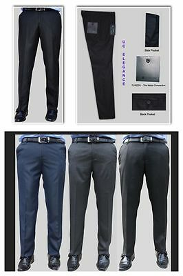 Mens Slim Fit Work Office Formal Trousers Pants Black Blue Grey Premium Quality