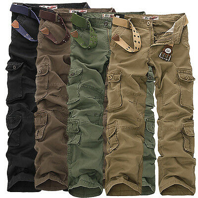 Men's Loose Straight Cargo Casual Pants Military Trousers Pockets Overalls