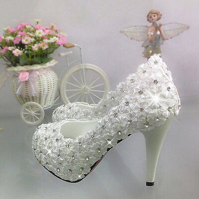 """3""""/4"""" white light ivory lace crystal Wedding shoes Bridal heels pumps size 5-10"""