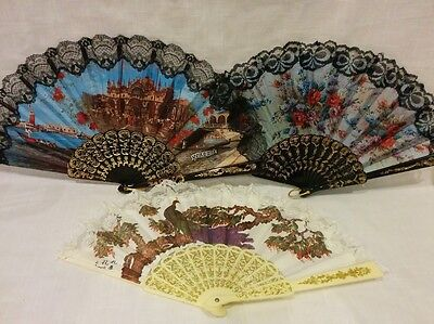 Vintage fabric lace folding hand fan flower floral Venezia black white