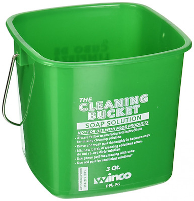 Winco PPL-3G Cleaning Bucket, 3-Quart, Green Soap Solution