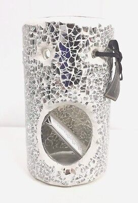 Ashleigh & Burwood Column Mosaic Oil Burner Silver Mirror RRP £15 Mothers Day