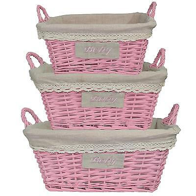 "Willow Woven Wicker Basket with Handles & Lining - PINK ""Baby"" 3 Sizes"