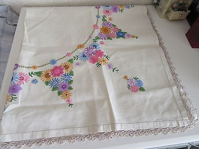 Vintage  Linen Floral Design Crochet  Embroidered Table Cloth Tea Table