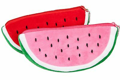 Watermelon Plush Pen Pencil Case Stationery Cosmetic Bag Pink / Red