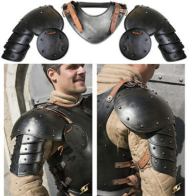 Armour shoulder Pauldrons Dark Warrior Imperial metal and leather, LaRPS GN
