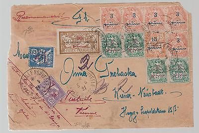 1921 Morocco cover to  Vienna Austria All French Protectorate Overprint Stamps