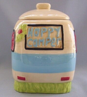 Happy Camper Cookie Jar Canister Kellie Montana Creative Co-Op Ceramic Curtains