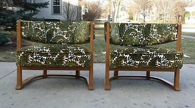 Mid Century Floating Back Pair Barrel Chairs   Dunbar Probber Era