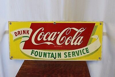 1940-50s Drink Coca Cola Fountain Service Coke Porcelain Advertising Sign