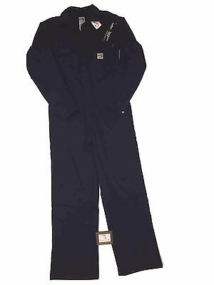 "Carhartt Mens Size 42"" Regular Flame Resistant Work Coverall Navy Unlined Nwt"